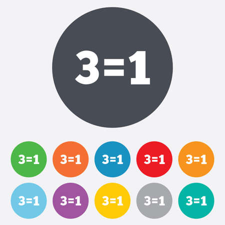 equals: Three for one sign icon. Take three pay for one sale button. 3 equals 1. Round colourful 11 buttons. Stock Photo