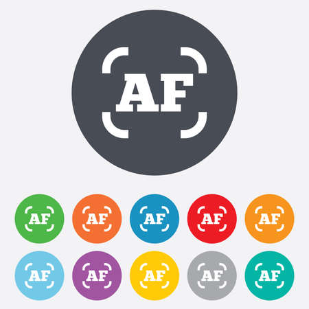 Autofocus photo camera sign icon. AF Settings symbol. Round colourful 11 buttons.