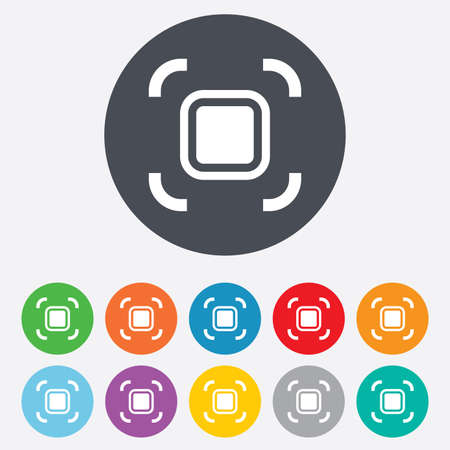 autofocus: Autofocus zone sign icon. Photo camera settings. Round colourful 11 buttons. Stock Photo