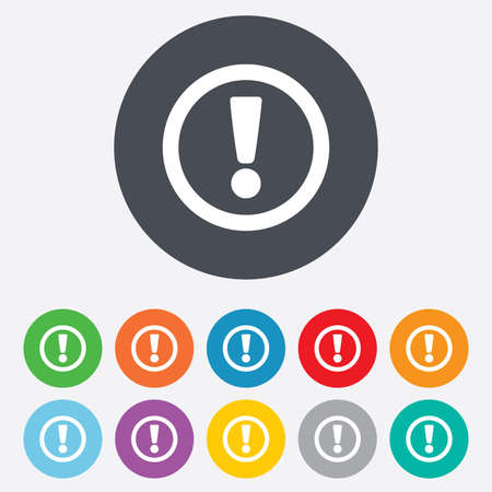 Attention sign icon. Exclamation mark. Hazard warning symbol. Round colourful 11 buttons. photo