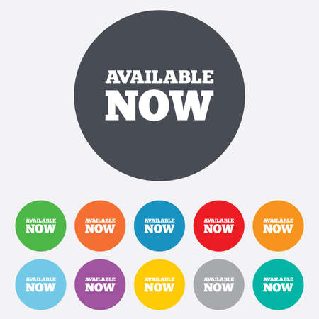 Available now icon. Shopping button symbol. Round colourful 11 buttons. photo
