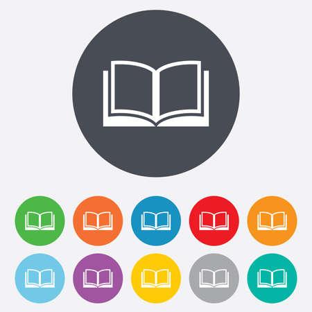 marca libros: Libro icono de la muestra. símbolo de libro abierto. Redondos coloridos 11 botones.