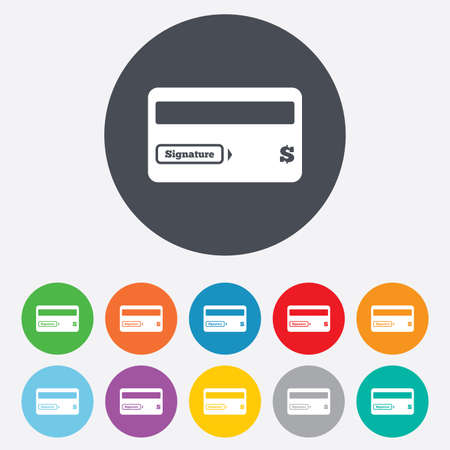Credit card sign icon. Debit card symbol. Virtual money. Round colourful 11 buttons. photo