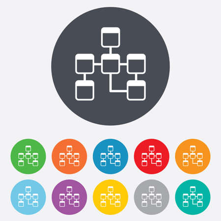 relational: Database sign icon. Relational database schema symbol. Round colourful 11 buttons.