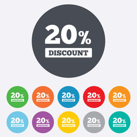 20 percent discount sign icon. Sale symbol. Special offer label. Round colourful 11 buttons. photo