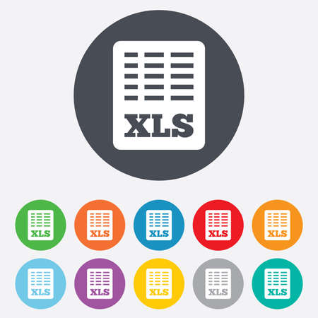 excel: Excel file document icon. Download xls button. XLS file symbol. Round colourful 11 buttons.