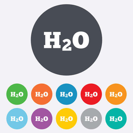 h2o: H2O Water formula sign icon. Chemistry symbol. Round colourful 11 buttons. Stock Photo