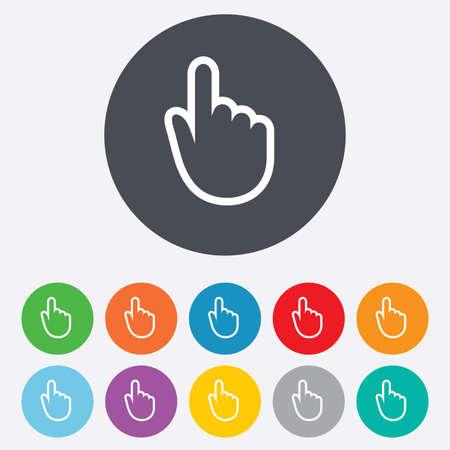 Icona del segno del cursore della mano. Simbolo del puntatore a mano. Rotondi colorati 11 pulsanti. Archivio Fotografico - 25416610