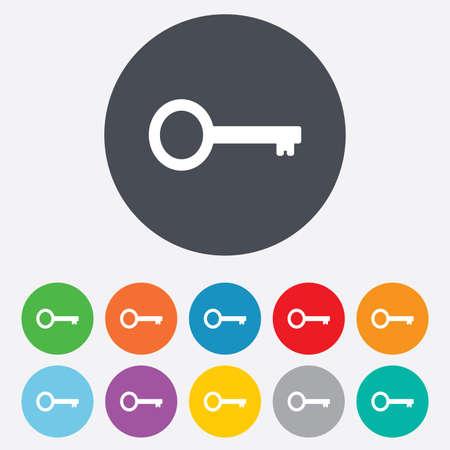 鍵に署名アイコン。シンボル ツールのロックを解除します。丸いカラフルな 11 のボタン。