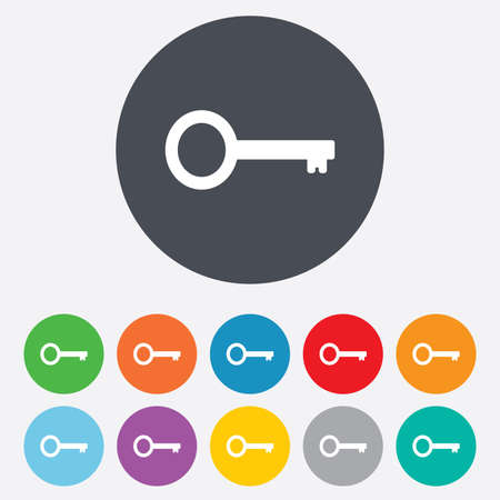 Key sign icon. Unlock tool symbol. Round colourful 11 buttons. Banco de Imagens