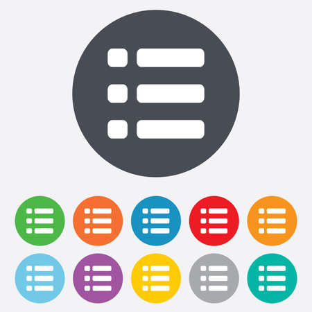 List sign icon. Content view option symbol. Round colourful 11 buttons. Stock Photo - 25416626