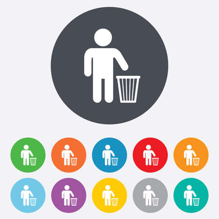After use to throw in trash. Recycle bin sign. Round colourful 11 buttons. Stock Photo - 25416646