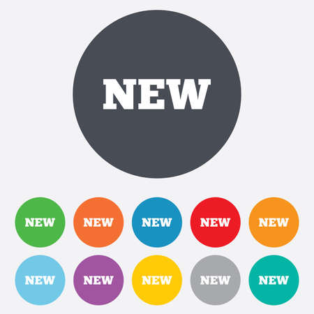 New sign icon. New arrival button symbol. Round colourful 11 buttons.