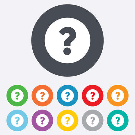 navigation mark: Question mark sign icon. Help symbol. FAQ sign. Round colourful 11 buttons.