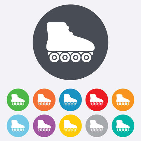rollerblades: Roller skates sign icon. Rollerblades symbol. Round colourful 11 buttons. Stock Photo