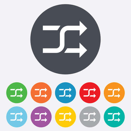 shuffle: Shuffle sign icon. Random symbol. Round colourful 11 buttons.