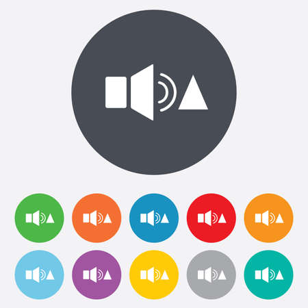 louder: Speaker volume louder sign icon. Sound symbol. Round colourful 11 buttons. Stock Photo