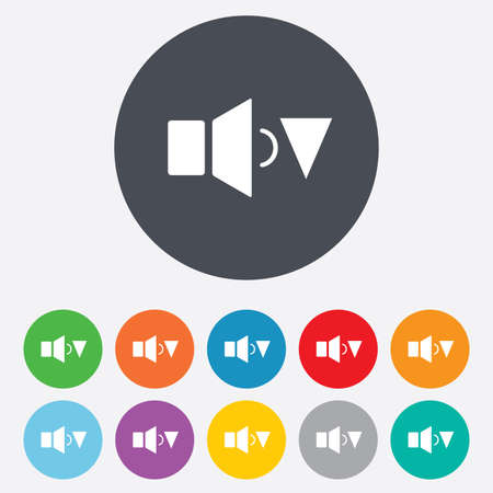 Speaker low volume sign icon. Sound symbol. Round colourful 11 buttons. photo
