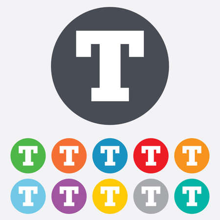 Text edit sign icon. Letter T button. Round colourful 11 buttons. Stock Photo