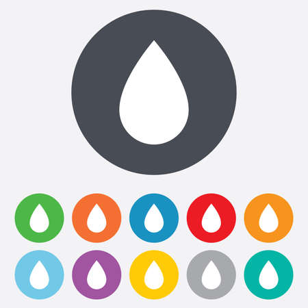 Water drop sign icon. Tear symbol. Round colourful 11 buttons. photo