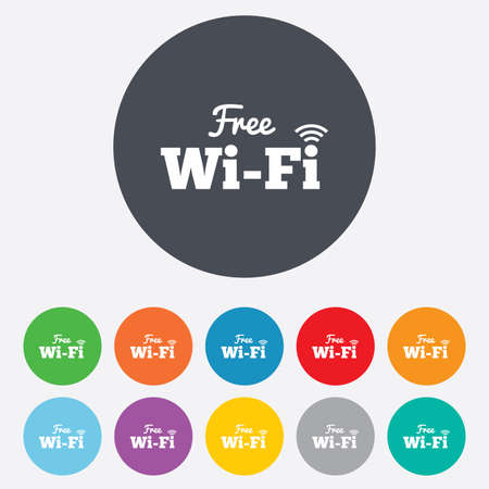 wifi: Free wifi sign. Wifi symbol. Wireless Network icon. Wifi zone. Round colourful 11 buttons.