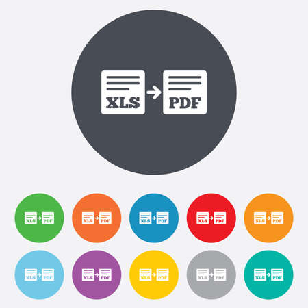 xls: Export XLS to PDF icon. File document symbol. Round colourful 11 buttons.