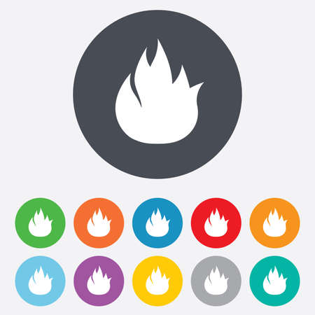 fire escape: Fire flame sign icon. Fire symbol. Stop fire. Escape from fire. Round colourful 11 buttons.