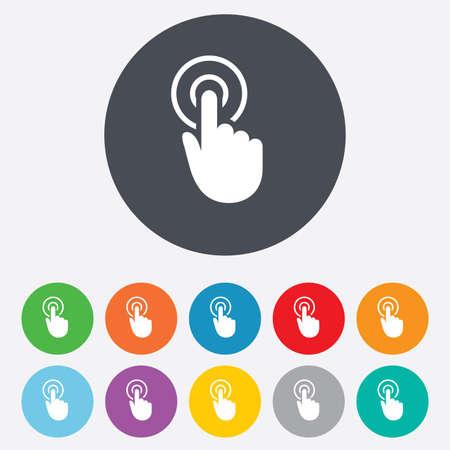 on fingers: Mano signo icono del cursor. S�mbolo puntero Mano. Ronda de colores 11 botones.