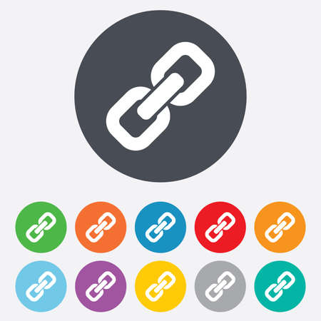 hyperlink: Link sign icon. Hyperlink chain symbol. Round colourful 11 buttons.
