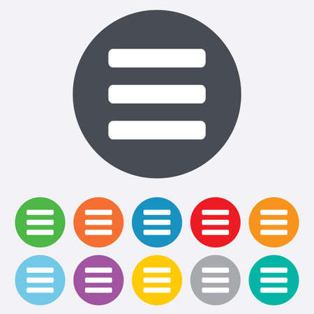 List sign icon. Content view option symbol. Round colourful 11 buttons. Stock Photo - 25416854