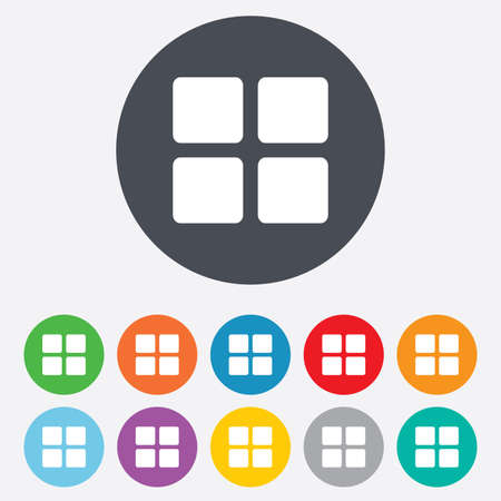 thumbnails: Thumbnails sign icon. Gallery view option symbol. Round colourful 11 buttons. Stock Photo