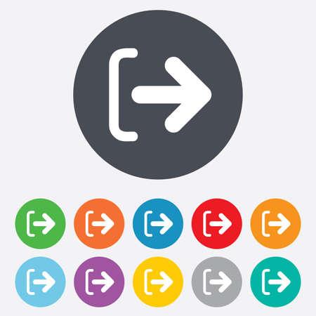 Salir Ingresa icono. Salir símbolo. Icono de flecha. Ronda de colores 11 botones. Foto de archivo - 25416866