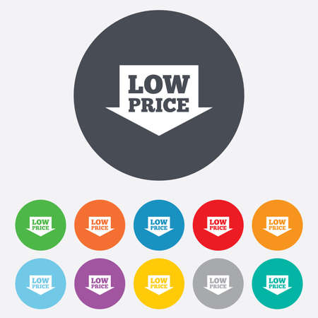 advantageous: Low price arrow sign icon. Special offer symbol. Round colourful 11 buttons.