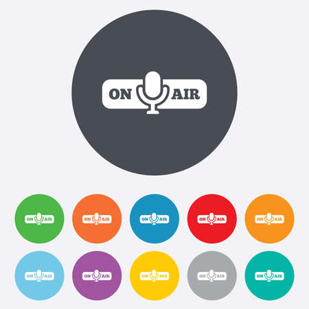 On air sign icon. Live stream symbol. Microphone symbol. Round colourful 11 buttons. photo