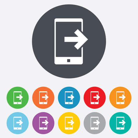 outcoming: Outcoming call sign icon. Smartphone symbol. Round colourful 11 buttons. Stock Photo