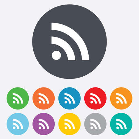 rss feed: RSS sign icon. RSS feed symbol. Round colourful 11 buttons.