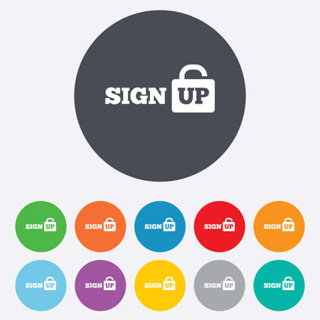 lock up: Sign up sign icon. Registration symbol. Lock icon. Round colourful 11 buttons.