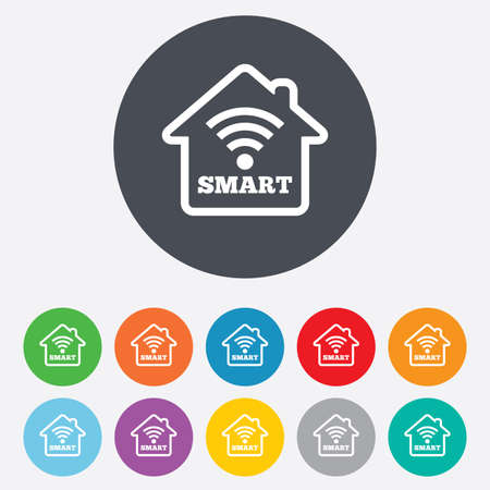 security token: Smart home sign icon. Smart house button. Remote control. Round colourful 11 buttons.