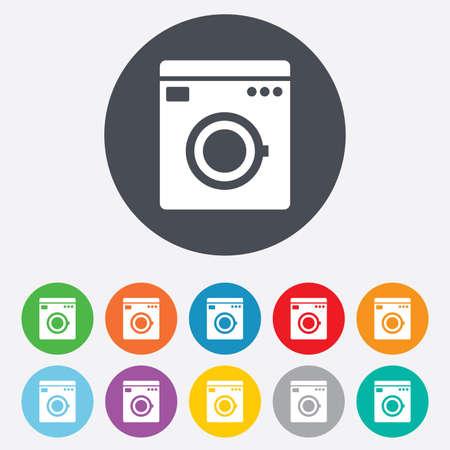 washhouse: Washing machine icon. Home appliances symbol. Round colourful 11 buttons.