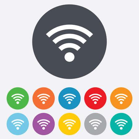 Wifi sign. Wi-fi symbol. Wireless Network icon. Wifi zone. Round colourful 11 buttons. photo