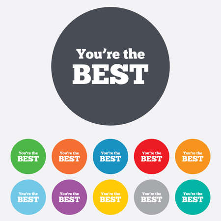 You are the best icon. Customer award symbol. Best buyer. Round colourful 11 buttons. photo