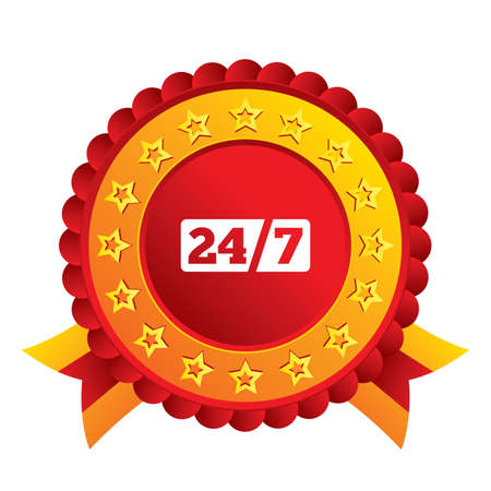 Service and support for customers. 24 hours a day and 7 days a week icon. Red award label with stars and ribbons. Vector Vector