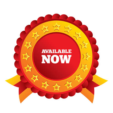Available now icon. Shopping button symbol. Red award label with stars and ribbons. Vector Vector