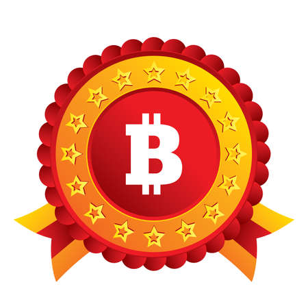 Bitcoin sign icon. Cryptography currency symbol. P2P. Red award label with stars and ribbons. Vector Vector