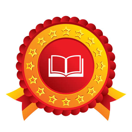 Book sign icon. Open book symbol. Red award label with stars and ribbons. Vector Illustration