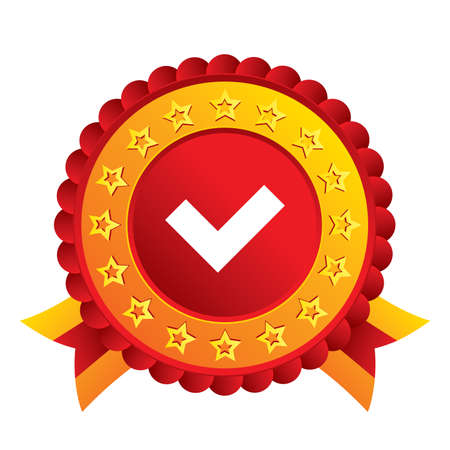 Check sign icon. Yes button. Red award label with stars and ribbons. Vector Vector