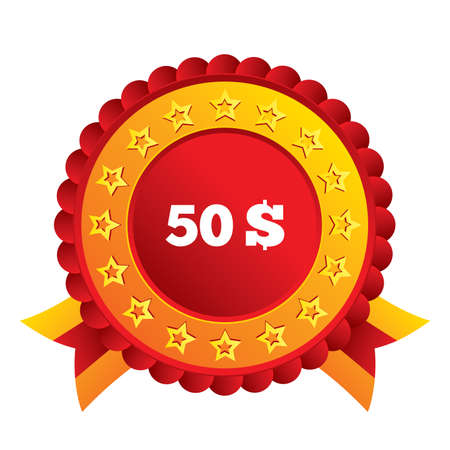 50 Dollars sign icon. USD currency symbol. Money label. Red award label with stars and ribbons. Vector Illustration