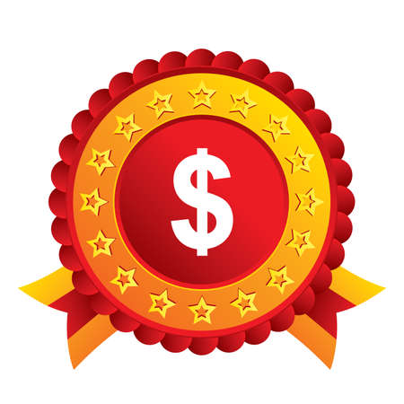 usd: Dollars sign icon. USD currency symbol. Money label. Red award label with stars and ribbons. Vector