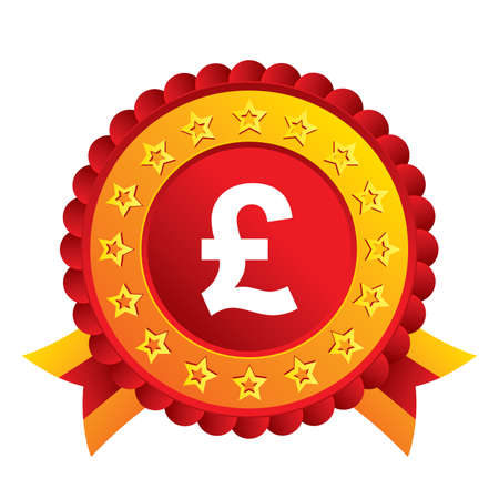 Pound sign icon. GBP currency symbol. Money label. Red award label with stars and ribbons. Vector Vector