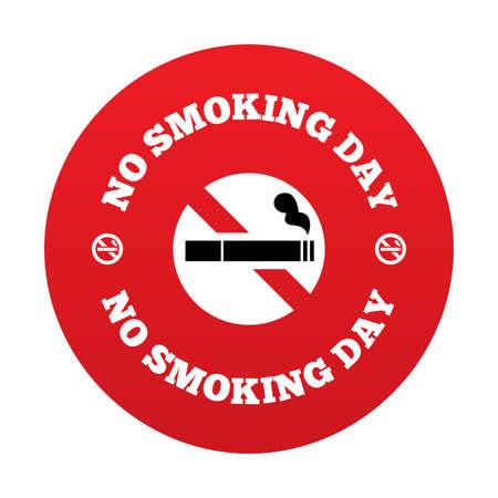 smoldering: Nessun giorno smoking segno. Smettere di fumare simbolo giorno. Illustrazione vettoriale. Vettoriali